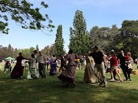 Earthly Delights leading participatory dancing at the National Trust Vintage Car Rally at Old Parliament House.