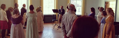 John teaching a Regency dance workshop at the Jane Austen Festival in Bath, UK.